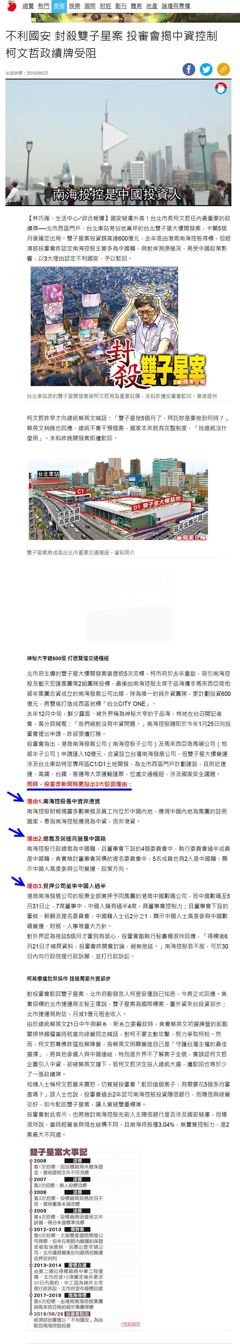 不利國安 封殺雙子星案 投審會揭中資控制 柯文哲政績牌受阻-2019.06.27-1.jpg