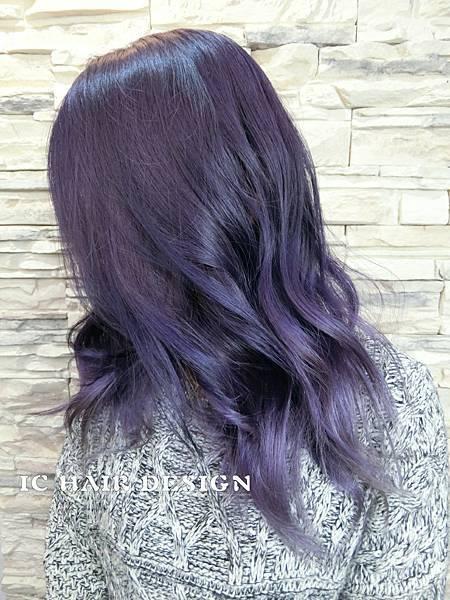 2018女生長髮髮型髮色三重染髮.紫外光+紫灰+籃紫