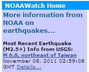NOAA Earthquakes News
