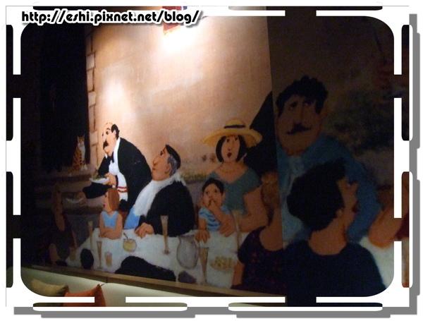牆上可愛的人物壁畫