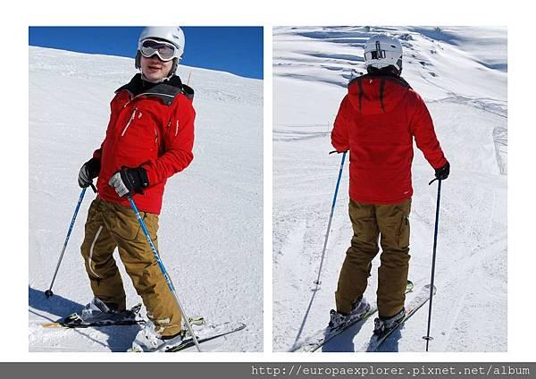 leon in ski clothing