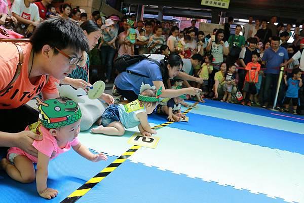 傳藝中心舉辦龍舟寶寶爬行比賽,家長帶著寶寶們蓄勢待發備開爬