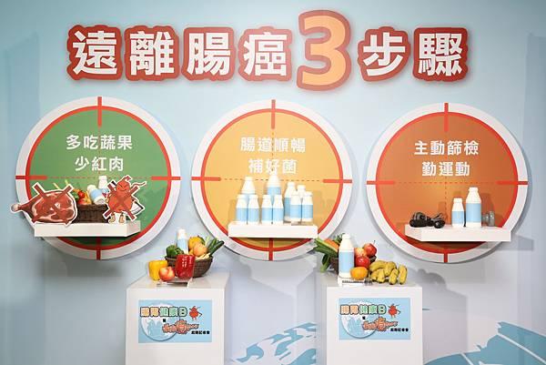 遠離腸癌三步驟:1.腸道順暢補好菌 2.多吃蔬果少紅肉 3.主動篩檢勤運動