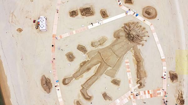 福容圖說2-福隆沙雕季巨人沙雕俯視圖