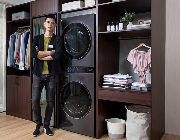 09_工一設計總監王正行:LG WashTower™ AI智控洗乾衣機一體成型打造的機身讓空間運用更加靈活,同時為居家空間注入簡約時尚氛圍。