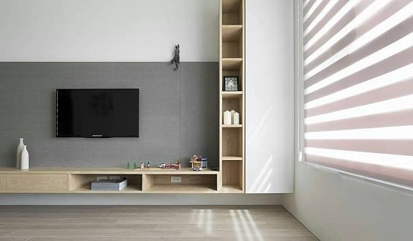 桃園住宅電視牆面-清水模精拋光