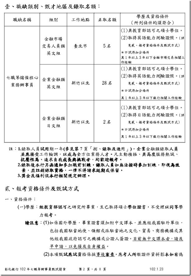 彰化銀行102年度招募七職等儲備核心業務辦事員甄試簡章1