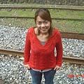 在平溪車站的鐵路上