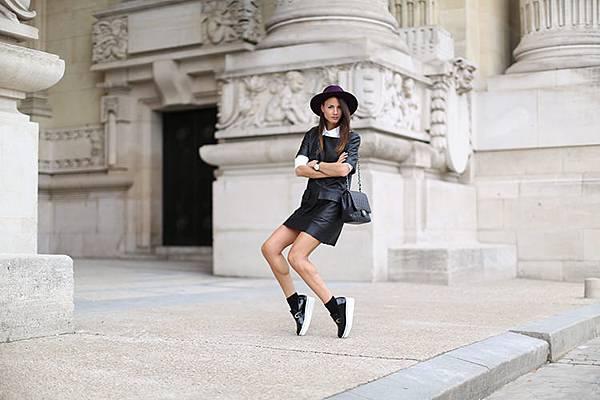 grand-palais-zina-charkoplia-fashion-week-leather-dress-stella-mccartney-shoes-hat-black-shirt