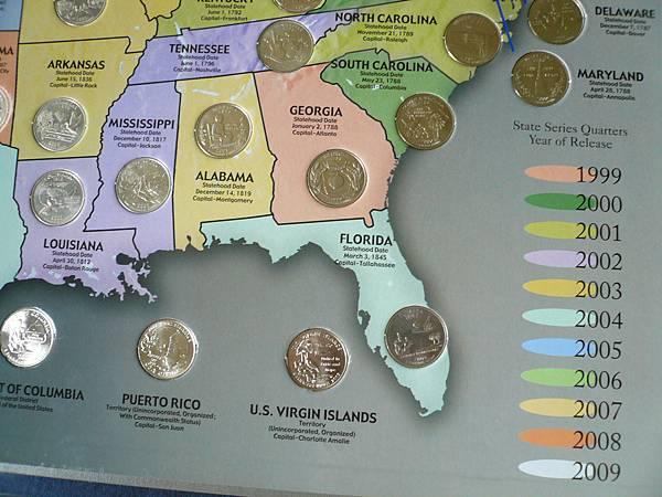 美國25分集幣冊右下角