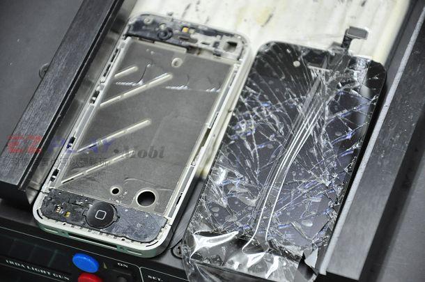 iphone4現場快速維修拆解液晶玻璃破裂速修4
