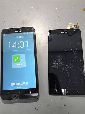 Asus ZenFone 2 Laser 面板破裂