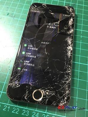 iphone 6 遭車輾過螢幕殘破不堪
