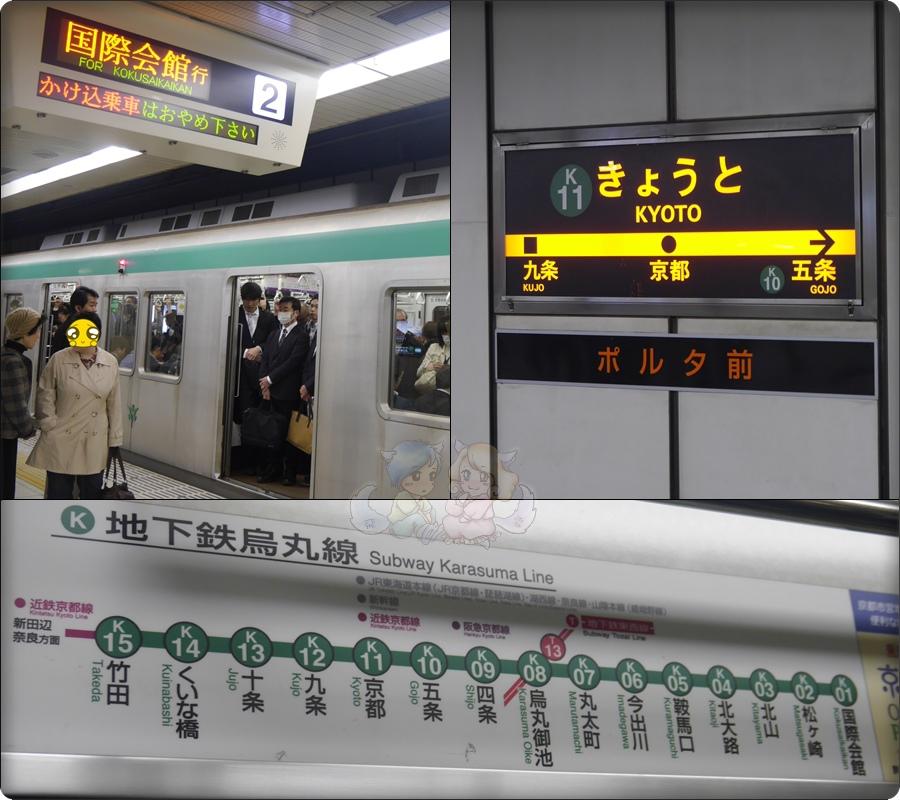 從京都駅坐地下鐵,坐到烏丸御池換線