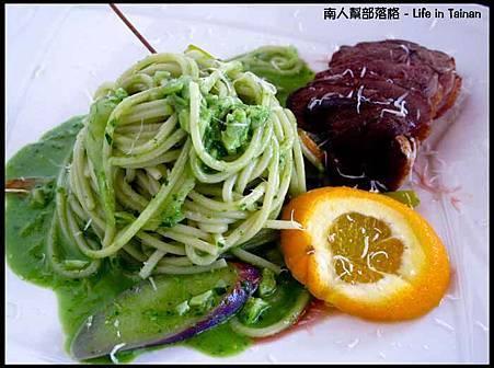 Ciao5-嫩煎櫻桃鴨羅勒松子醬汁麵(320元)