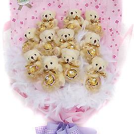 甜蜜寶貝11隻熊抱金莎花束.jpg