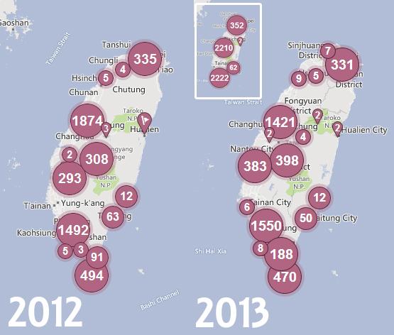 2012/8~2013/8臉書地標數量圖