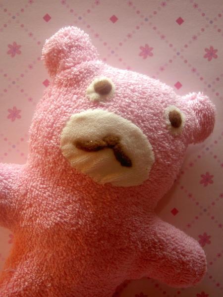 日有所思的粉紅毛巾熊