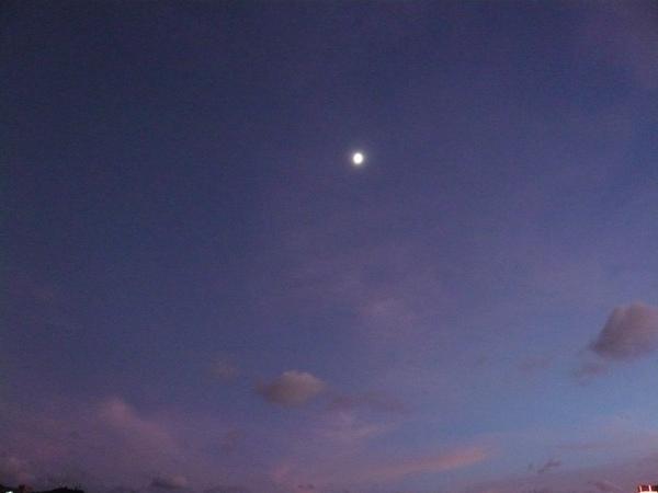 靛藍黃昏時出現柔美月色