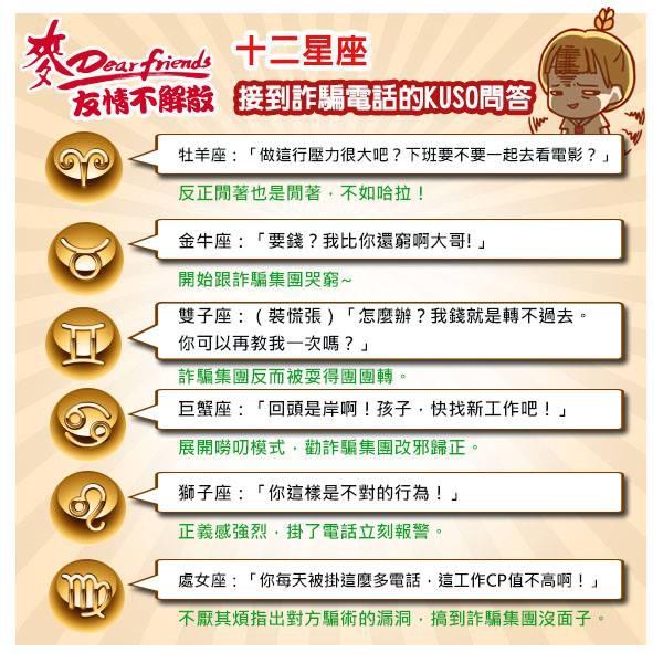 【夏霏星座】12星座接到詐騙電話的KUSO問答1(麥香粉絲團邀稿)