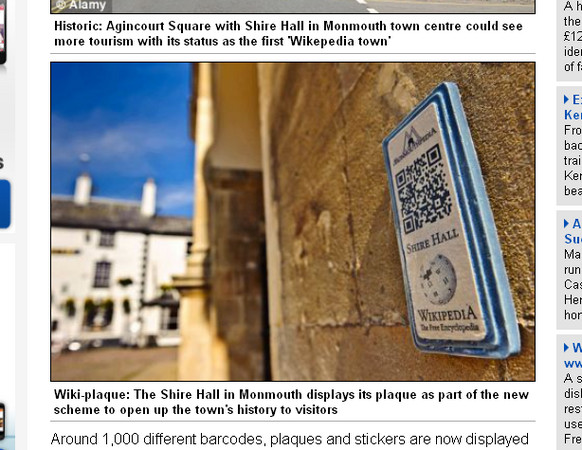 將QR-CODE貼在富有歷史故事的建築上,讓遊客一掃就能閱讀介紹文章