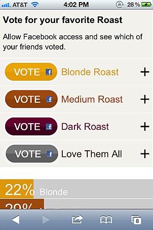 星巴克藉由QR Code票選咖啡豆