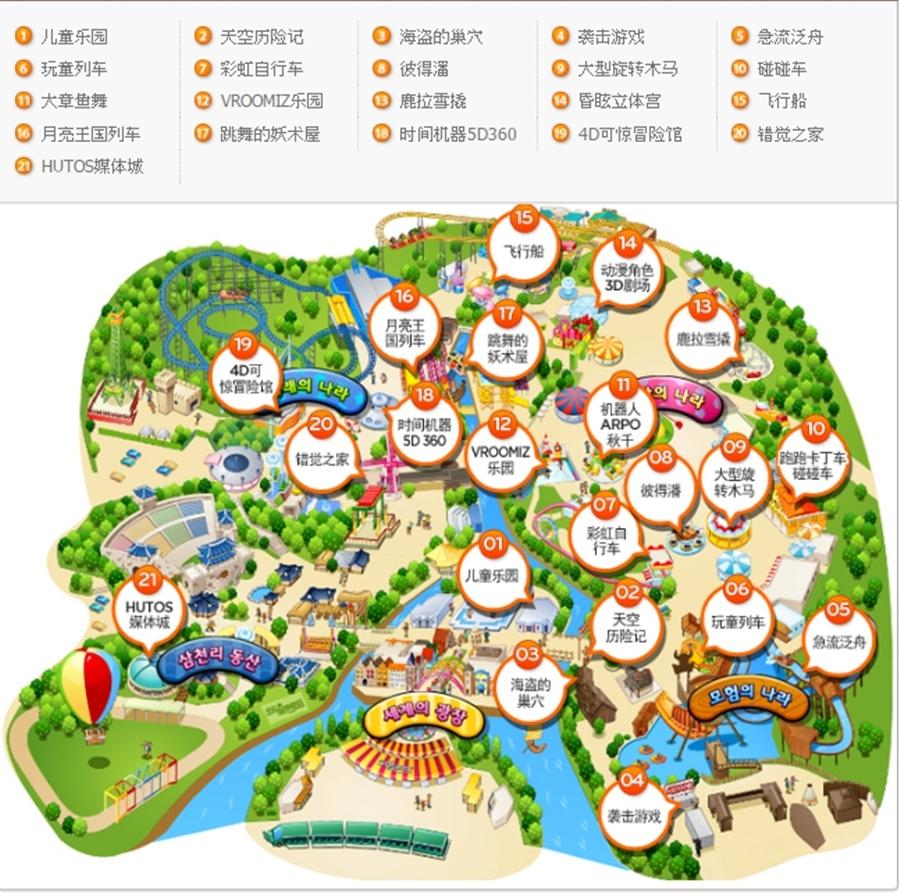 首爾樂園設施路線