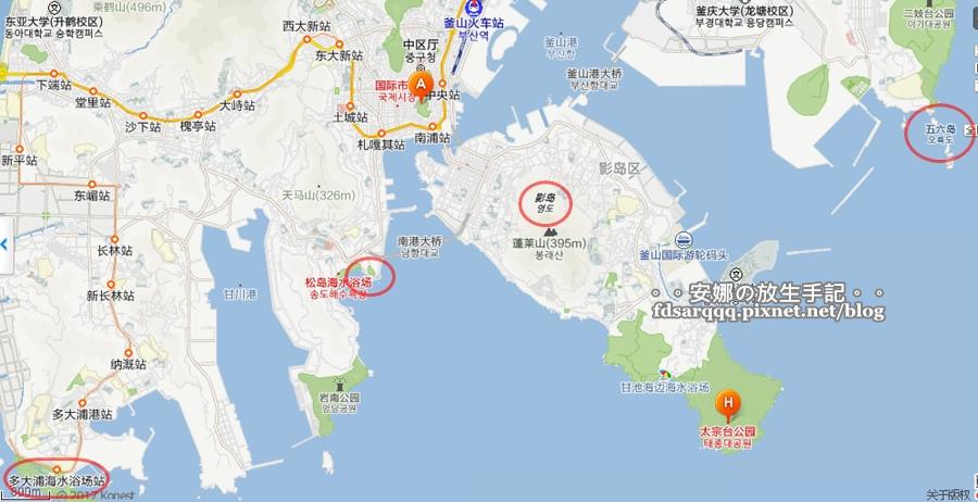 釜山三大天空步道位置圖
