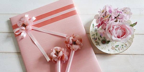 戀戀花朵粉系列-證書本%2F簽名筆