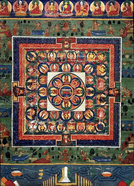 434px-Medicine_Buddha_painted_mandala_with_goddess_Prajnaparamita_in_center,_19th_century,_Rubin.jpg