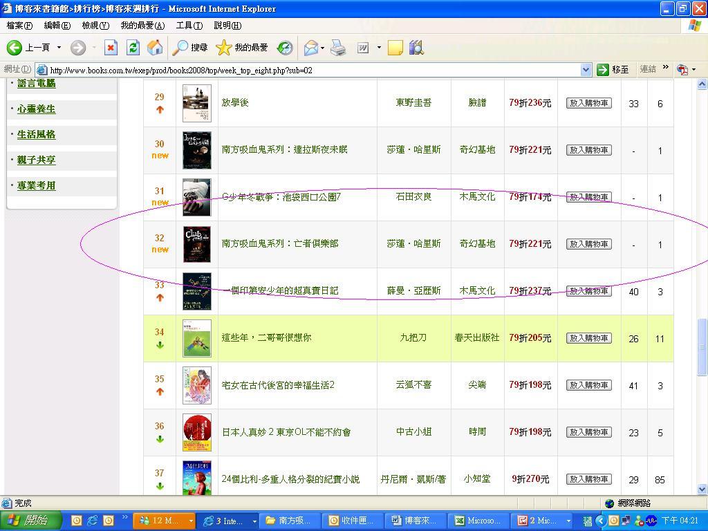 博客來-文學小說-週排行榜 2009 第14週 亡者俱樂部.JPG