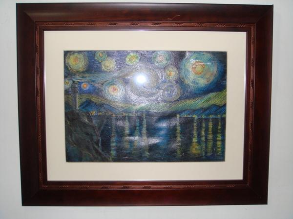 """仿梵谷""""星夜""""與""""星月夜""""2幅畫合在一起的畫"""