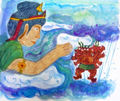 大菩薩用雲拍拍卡娃噶寶的身體