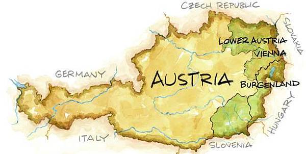 Austrian Wine Map illustration