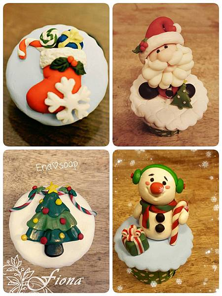 2015-聖誕黏土皂杯子蛋糕-聖誕老公公@娜娜媽手工皂花園