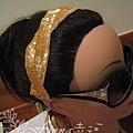金色管珠刺繡髮帶NT2100