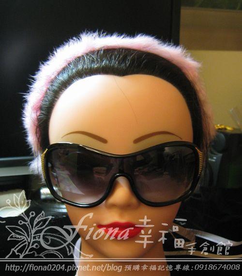 粉色兔毛刺繡髮帶NT2600
