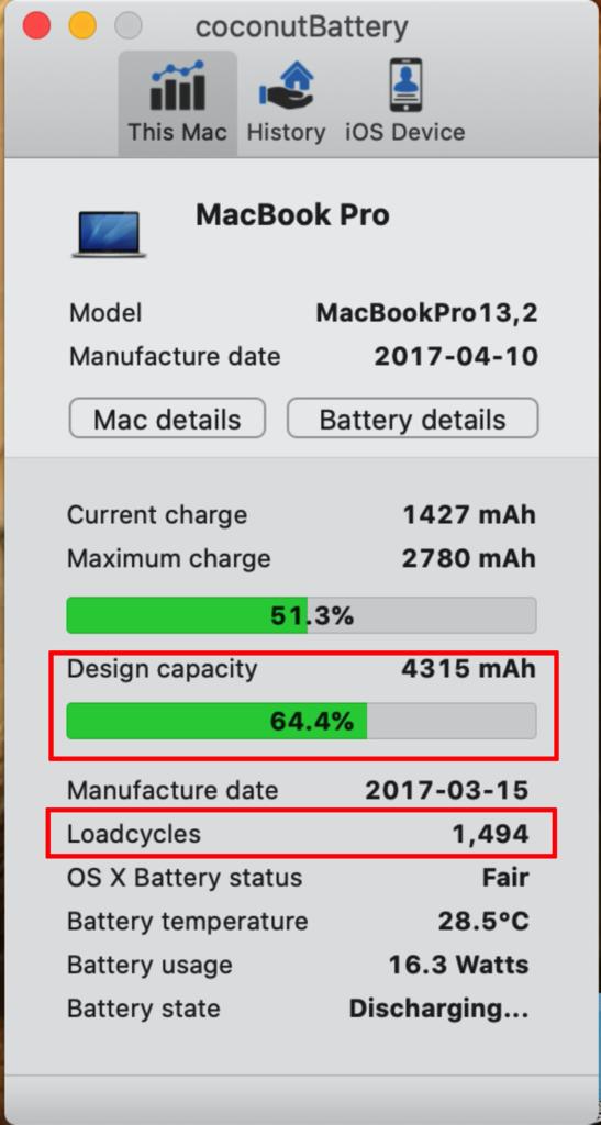 台北MacBook維修推薦-coconutBattery電池檢測結果