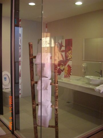 透明落地窗的浴室