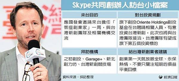 Skype共同創辦人 要投資台灣