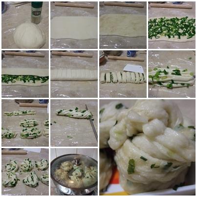 蔥花捲製作過程