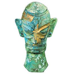 戴金面罩青銅人像