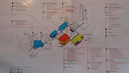 圖一 展場地圖 (由此可見書展總共四大場館彼此連通,宛如國際機場的航站,其中最近的地鐵站是四號線的 (U4 Festhalle  Messe),於法蘭克福中央車站(Frankfurt Main Hauptbahnhof)即可轉乘。).JPG