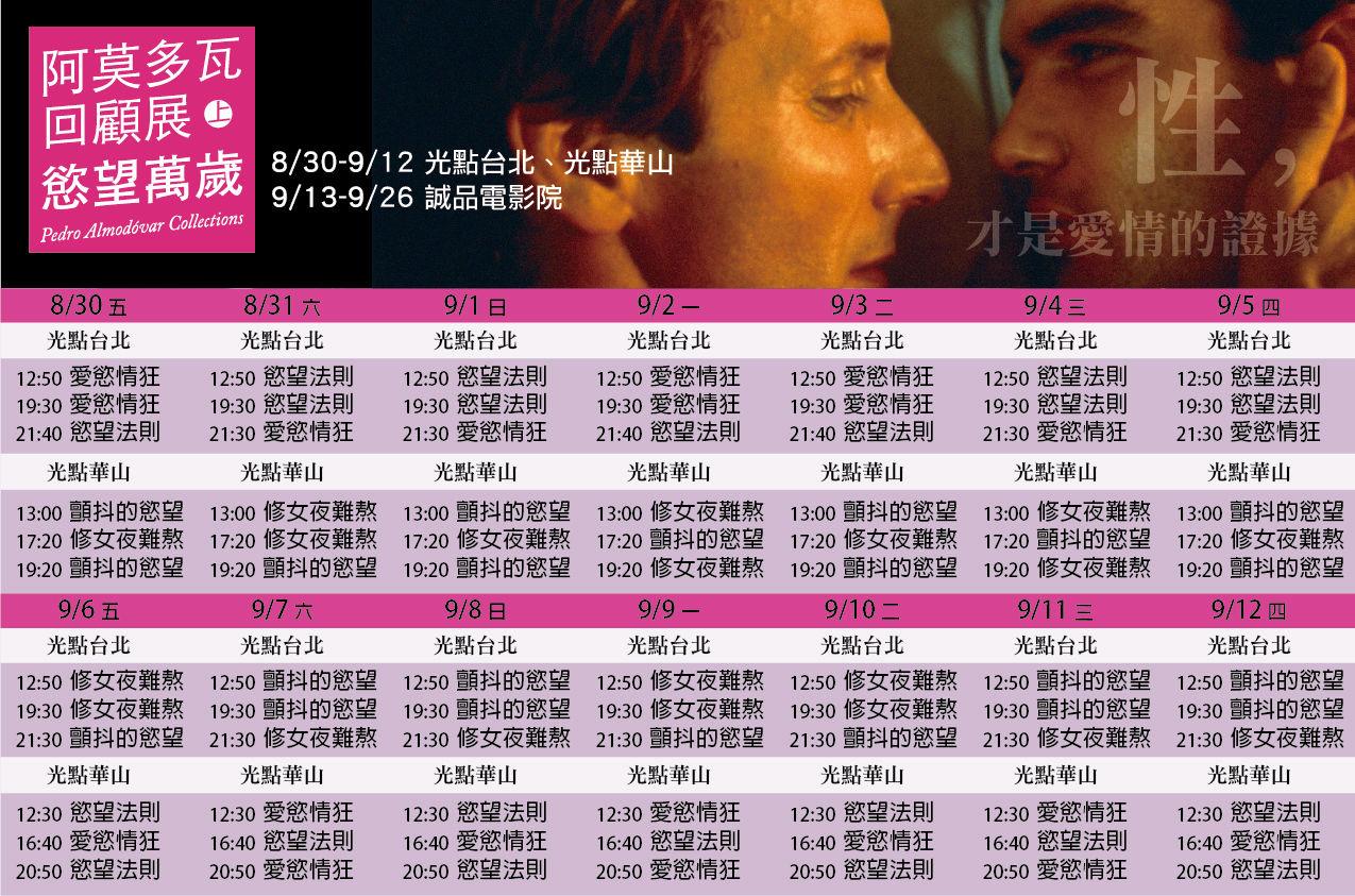阿莫多瓦回顧展(上):慾望萬歲 光點上映時刻表