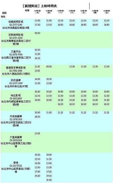 十月上映場次時間表