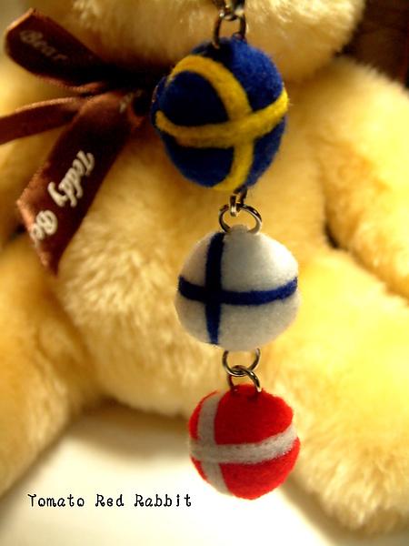 國旗手機吊飾-瑞典+芬蘭+丹麥