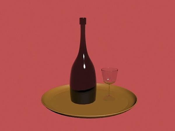 3D_酒瓶&玻璃杯