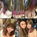 就是要混搭~~淺亞麻灰色系配挑染粉紫色!!皮膚超顯氣色和白皙