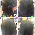 墨綠挑染紫