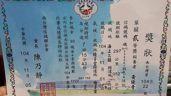 104南台灣鴿會 第二名